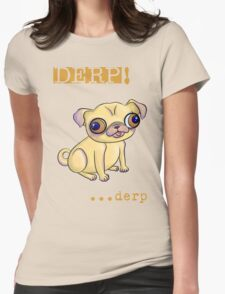 Pug Showing Derp Pride Womens Fitted T-Shirt