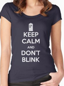 Dr Who - Keep Calm Don't Blink Women's Fitted Scoop T-Shirt