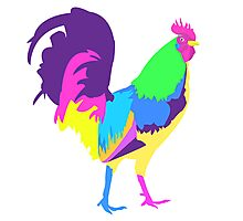Psychedelic Chicken Photographic Print