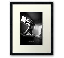 Black and white in a yellow room Framed Print