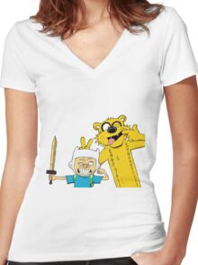 Calvin time Women's Fitted V-Neck T-Shirt
