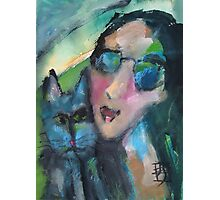 Girl and Cat Love Photographic Print