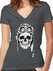 WWII Flying Ace Women's Fitted V-Neck T-Shirt