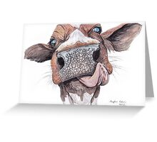 Cow Licking Lips Greeting Card