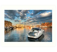 Boston Harbor Sunset - Golden Light on the Marina Art Print