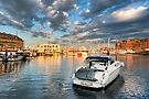 Boston Harbor Sunset - Golden Light on the Marina by Mark Tisdale