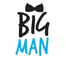 BIG MAN with bow tie cute blue bossy Photographic Print