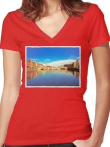 Cork City Lee View 001  Women's Fitted V-Neck T-Shirt