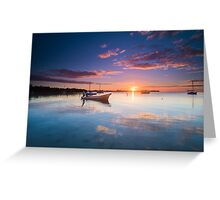 The Boat by the Docks - Belizean sunset Greeting Card