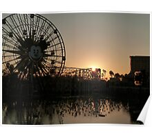 Rollercoaster at dusk with reflection Poster