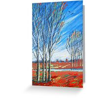 blauer wind über rot Greeting Card