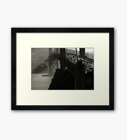 Golden Gate Bridge Black and White Framed Print