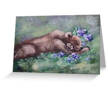 Sleeping Buddies II Bear and Mouse Greeting Card