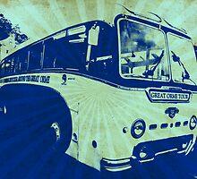 Llandudno Tour Bus Vintage Ray Effect - Blue by CDGStudios