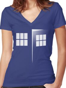 Police Call Box Women's Fitted V-Neck T-Shirt