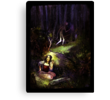 Dear in deep forest Canvas Print