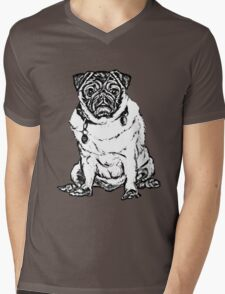 Pug o My heart Graphic ~ black and white Mens V-Neck T-Shirt