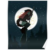 Witch flying on a broomstick Poster