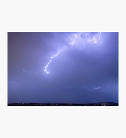 Bolts of Lightning Arcing Through the Night Sky Photographic Print