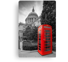 St Pauls Cathedral and the red telephone box Canvas Print