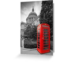 St Pauls Cathedral and the red telephone box Greeting Card