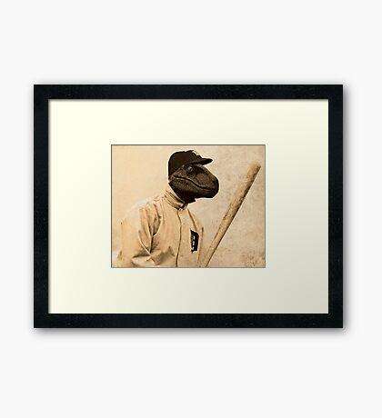Baseball Velociraptor Framed Print