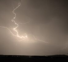 Lightning Goes Boom In The Middle of The Night Sepia by Bo Insogna