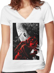 Reds in Space Women's Fitted V-Neck T-Shirt