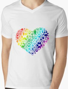 Paws of the Heart Mens V-Neck T-Shirt