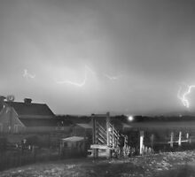 McIntosh Farm Lightning Thunderstorm View BW by Bo Insogna