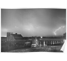 McIntosh Farm Lightning Thunderstorm View BW Poster