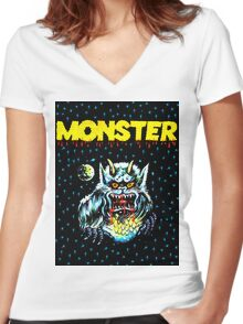 Simple Monster in the Night Women's Fitted V-Neck T-Shirt
