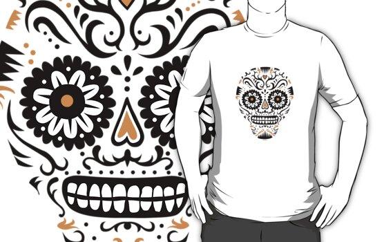 Sugar Skull SF -  on white by Andi Bird