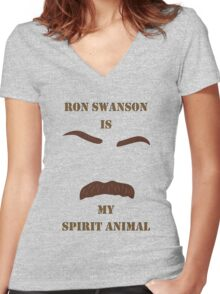 Ron Swanson is my Spirit Animal Women's Fitted V-Neck T-Shirt