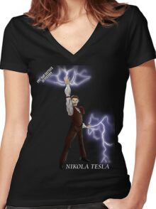 Epic Rap Battles - Nikola Tesla Women's Fitted V-Neck T-Shirt