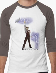 Epic Rap Battles - Nikola Tesla Men's Baseball ¾ T-Shirt