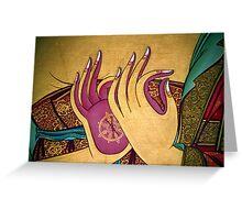 mudra. tibetan wall painting, india Greeting Card