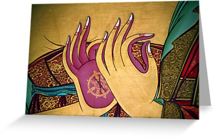 mudra. tibetan wall painting, india by tim buckley   bodhiimages