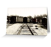 Trains in the train yard Greeting Card