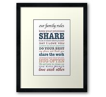 Our Family Rules (colour) Framed Print