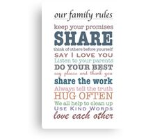 Our Family Rules (colour) Canvas Print
