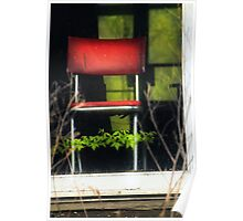 A Little Red Chair Just Behind Glass Poster