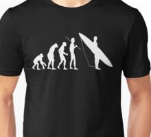 Evolution to surfer White Unisex T-Shirt