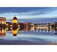Sunset over Garonne river Photographic Print