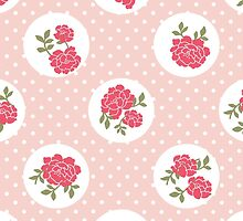 Shabby Chic Polka Dots, Roses - Pink Red Green  by sitnica