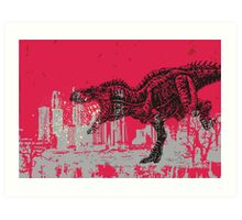 T-Rex dinosaur attacking grunge city Art Print