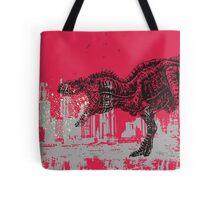 T-Rex dinosaur attacking grunge city Tote Bag