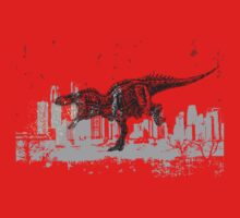 T-Rex dinosaur attacking grunge city by BigMRanch