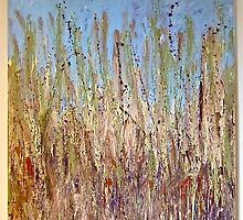 grass beneath blue sky by mmpaintings