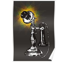 Vintage retro pop art phone telephone halftone burst Poster
